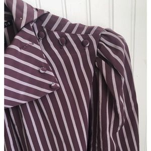 Vintage Purple Striped Secretary Blouse